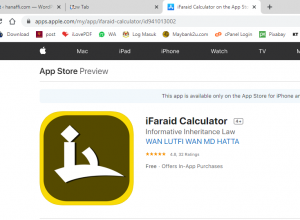 Apps kiraan faraid – ifaraid calculator