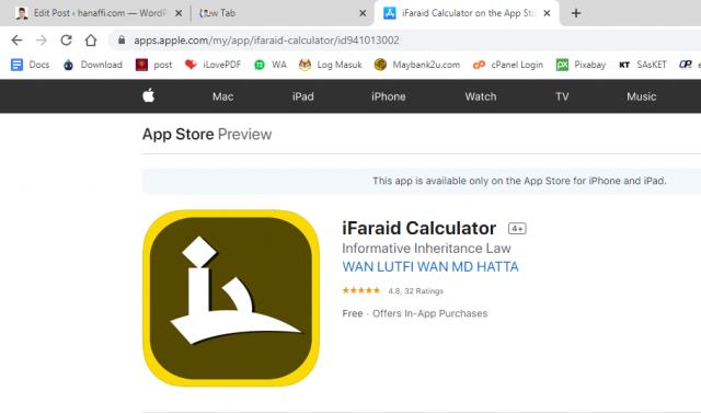 Apps kiraan faraid – ifaraid calculator